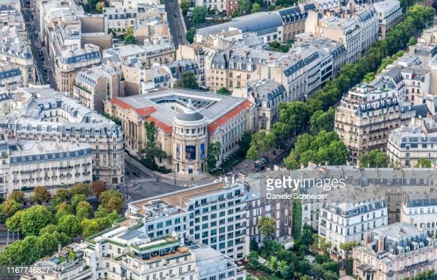 france, 16th arrondissement of paris, view from the eiffel tower (guimet museum, avenue d'iena - paris island stock photos and pictures