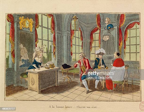 France 18th century French Revolution A la bonne heure Chacun son ecot Caricature of the three Estates Third Estate Clergy and Nobility Print Paris...