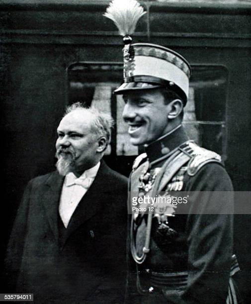 France 1913 King of Spain Alfonso XIII greeted at the Bois de Boulogne station by President Raymond Poincaré