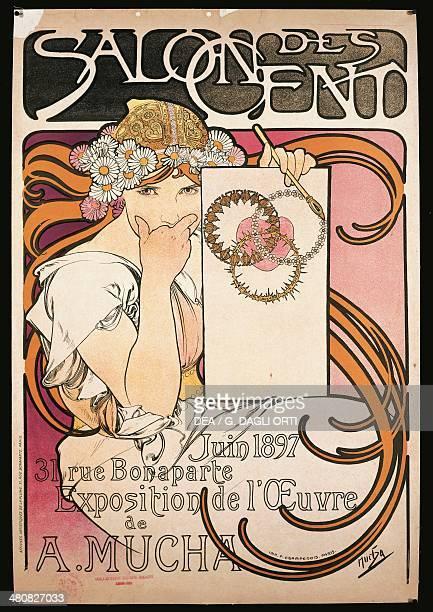 France 19th century Alphonse Mucha poster advertising Salon des Cent exhibition 1897 Paris Bibliothèque Des Arts Decoratifs