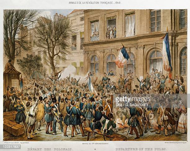 France 19th century Polish troops leave Paris Engraving by Victor Adam 1848