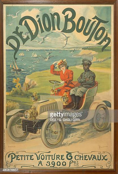 France 20th century De Dion Bouton Petit voiture 6 chevaux Advertisment for a car depicting La Belle Otero at the wheel and Michel Zelete valet of...