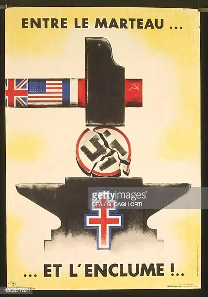 France 20th century Second World War AntiNazi propaganda poster 'Entre le Marteau et l'Enclume' Paris Musée De L'Armée