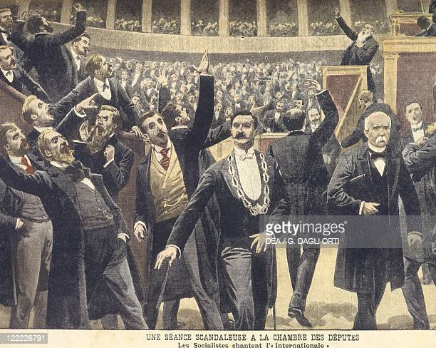 France 20th century Socialists singing 'The International' at the Chamber of Deputies May 1909 Illustration from Le Petit Journal