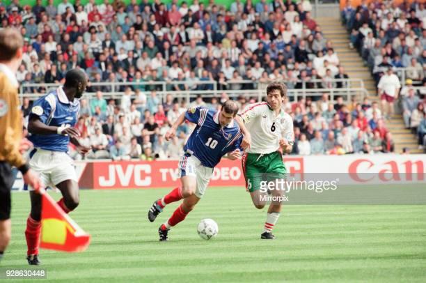 France 31 Bulgaria Euro 1996 Group B match at St James Park Newcastle Tuesday 18th June 1996 Zinedine Zidane No10 Zlatko Yankov No6