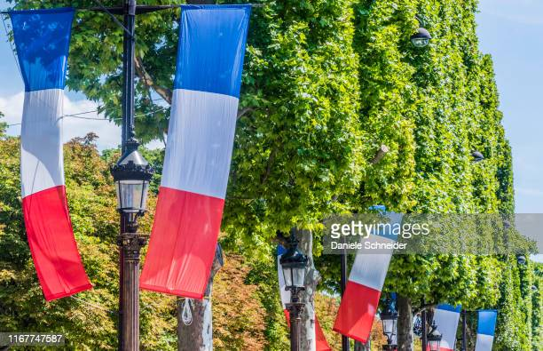 france, 8th arrondissement of paris, bedecked avenue des champs-elysees - シャンゼリゼ通り ストックフォトと画像