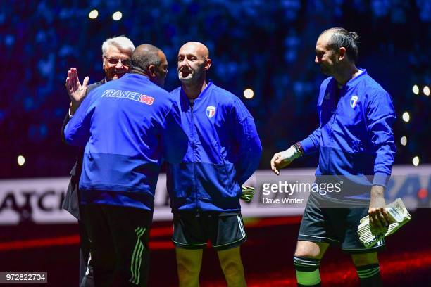 France 98 head coach Aime Jacquet Bernard Lama of France Fabien Barthez of France and Lionel Crabonnier of France during the Legends Game match...
