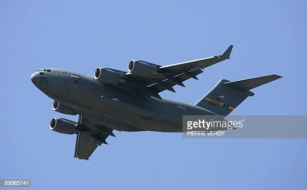 A Boeing C17 A Globemaster flies over Le Bourget Airport during its flying display for the 46th International Paris Air Show 14 June 2005