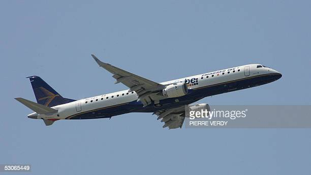 A Brazilian Embraer 195 flies over Le Bourget Paris Air Show during its flying display 14 June 2005 AFP PHOTO PIERRE VERDY