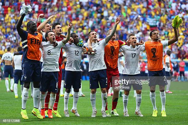 France acknowledge the fans after defeating Nigeria 2-0 during the 2014 FIFA World Cup Brazil Round of 16 match between France and Nigeria at Estadio...