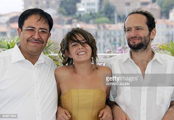 Actor Marcos Hernandez actress Anapola Mushkadiz and Mexican director Carlos Reygadas pose during a photo call for Mexican director Carlos Reygadas'...