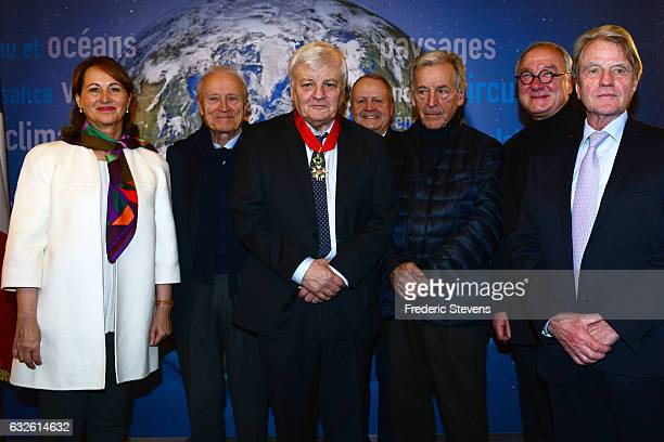 France actors Jacques Perrin pose with his friend Constantin Costas Gavras Bernard Kouchner and Jerome Seydoux after to have receives the French...