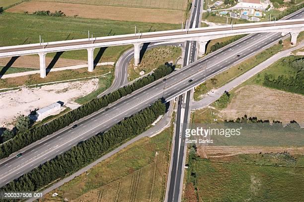France, Aix-en-Provence, A8 highway and railway bridge road