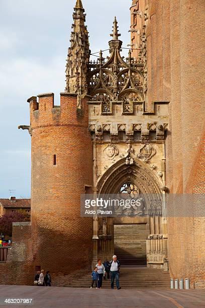 france, albi, entrance of sainte cecile cathedral - アルビ ストックフォトと画像