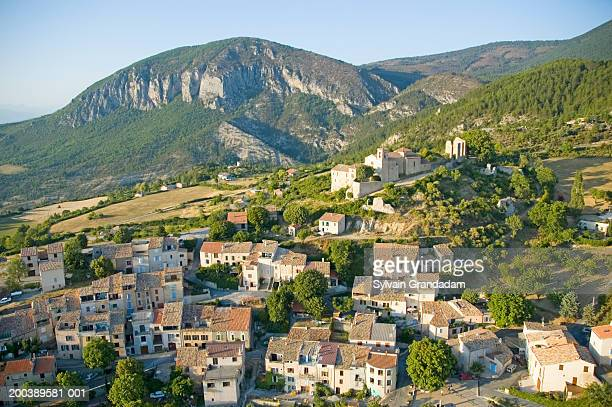 france, alpes de haute-provence, saint jurs village, elevated view - alpes de haute provence stock pictures, royalty-free photos & images
