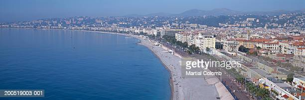 France, Alpes-Maritimes, Nice, beach and promenade, elevated view