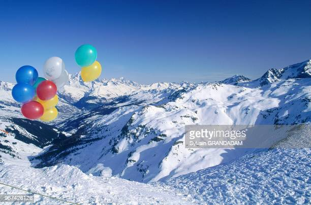 France Alps Savoie La Plagne In Winter Overview From Top Of Runs Colorful Balloons