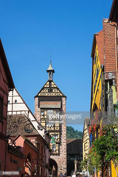 france, alsace, alsatian wine route, haut-rhin, riquewihr, dolder tower - haut rhin stock pictures, royalty-free photos & images
