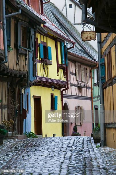 france, alsace (haut rhin), eguisheim, half timbered houses, exteriors - haut rhin stock pictures, royalty-free photos & images
