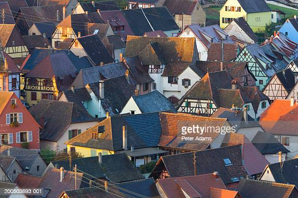 france, alsace, haut-rhin, niedermorschwihr, town rooftops - haut rhin stock pictures, royalty-free photos & images