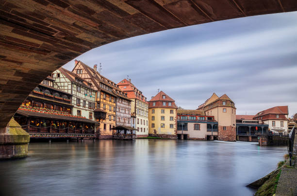 France, Alsace, Strasbourg, La Petite France, Half-timbered houses and L'Ill river