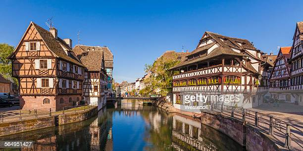 France, Alsace, Strasbourg, La Petite France, Half-timbered houses and LIll river