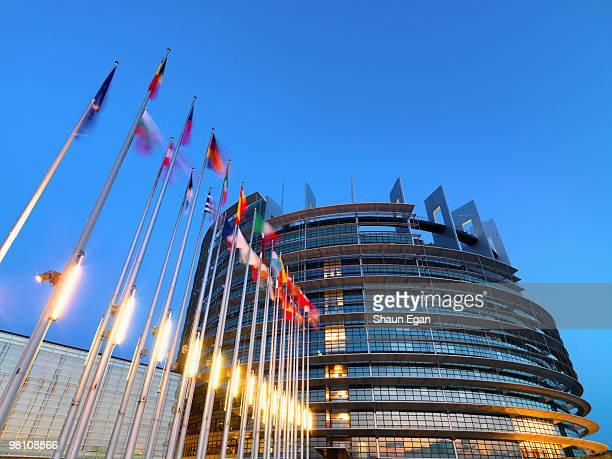 France, Alsace, Strasbourg, Parliament at dusk