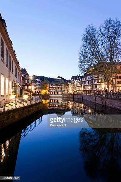 France, Alsace, Strasbourg, Petite-France, L'ill River, View of Place Benjamin Zix at night
