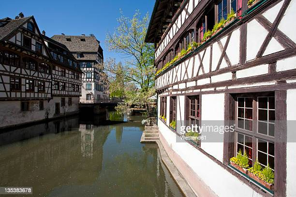 France, Alsace, Strasbourg, Petite-France, View of frame houses near L'ill river