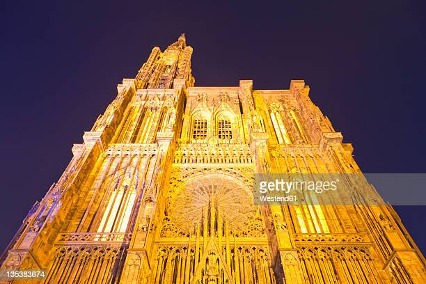 France, Alsace, Strasbourg, View of Notre Dame cathedral at night