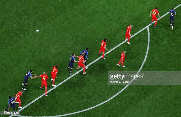France and Belgium players prepare for a corner kick during the 2018 FIFA World Cup Russia Semi Final match between Belgium and France at Saint...
