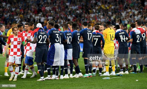 France and Croatia players shake hands following the 2018 FIFA World Cup Final between France and Croatia at Luzhniki Stadium on July 15 2018 in...