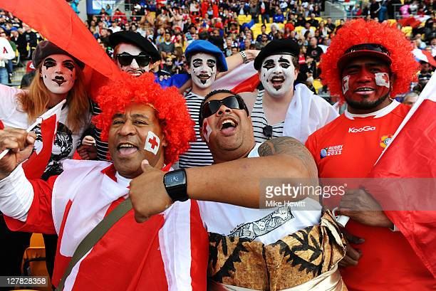France and Tonga fans cheer on their teams during the IRB 2011 Rugby World Cup Pool A match between France and Tonga at Wellington Regional Stadium...