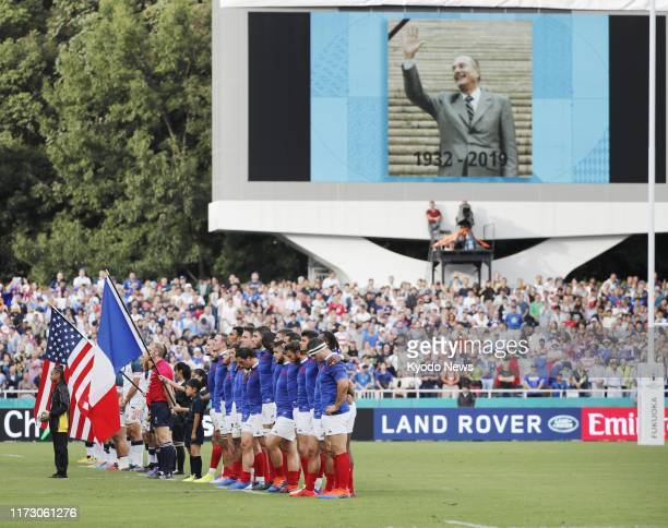 France and U.S. Players observe a moment of silence ahead of a Rugby World Cup Pool C match in Fukuoka, southwestern Japan, on Oct. 2 in memory of...