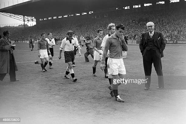 France and WestGermany soccer national team players during their match on October 05 1952 at Colombes near Paris in front of tens of thousands...