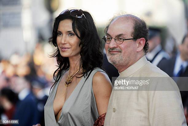 AngloIndian novelist Salman Rushdie and his wife Padma Lakshmi arrive for the official projection of French director Agnes Jaoui's film Comme Une...