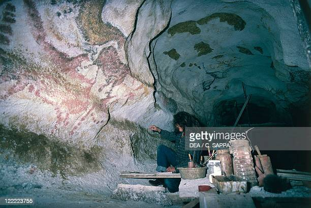 France Aquitaine Decorated Grottoes of the Vezere Valley Lascaux Grotto restoration intervention on upper Paleolithic cave painting