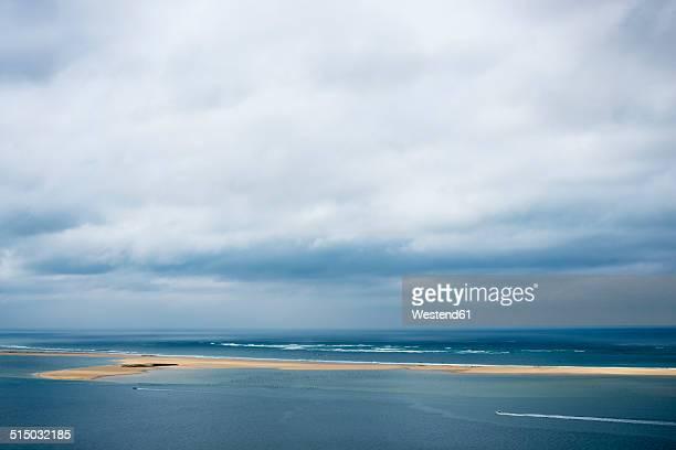 France, Aquitaine, Gironde, Pyla sur Mer, Dune du Pilat, Bassin d'Arcachon with oyster farming