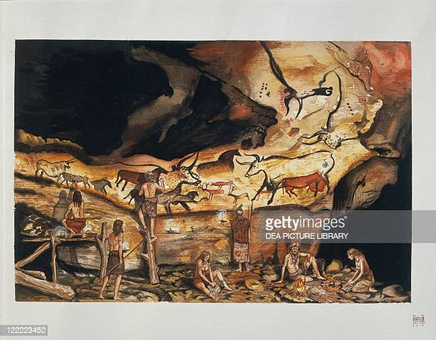 France Aquitaine Lascaux Grottoes Reconstruction of Bull Chamber being decorated Illustration
