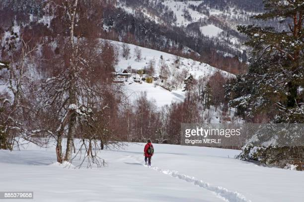 france, ariege, snowshoer in a snowy landscape - アリエージュ ストックフォトと画像