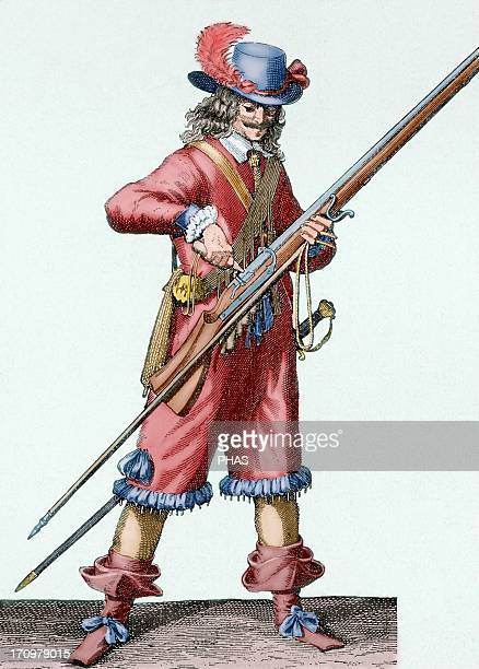 France Army of the 18th century Musketeer of the Infantry of Louis XIV filling the musket's bowl with black powder Colored engraving
