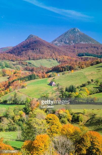 france, auvergne, cantal, the cantal mountains, le puy griou - auvergne rhône alpes stock pictures, royalty-free photos & images