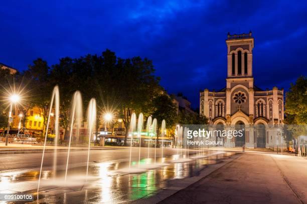 france, auvergne-rhone-alpes, saint-etienne, saint-charles-de-borrome cathedral at night - auvergne rhône alpes stock pictures, royalty-free photos & images