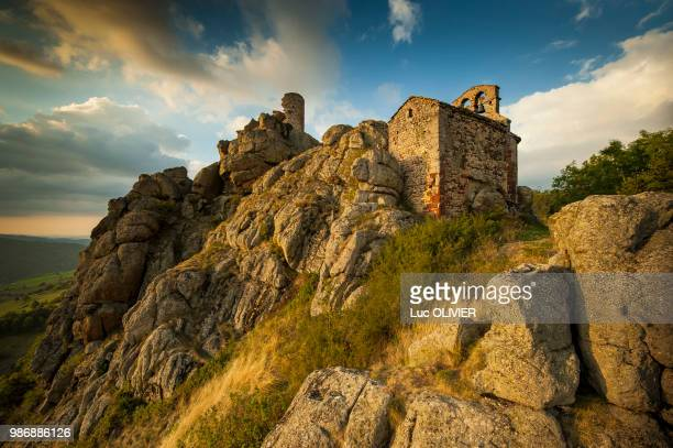 france, auvergne-rhones-alpes, haute-loire, the chapel of rochegude - auvergne stock pictures, royalty-free photos & images