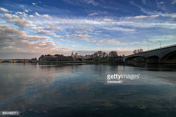 France, Avignon, Pont dAvignon and Cathedrale Notre-Dame in the background