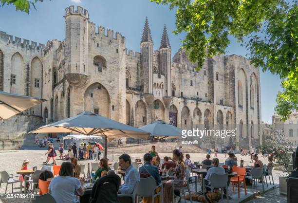 France. Avignon. Tourists at the Popes Palace.