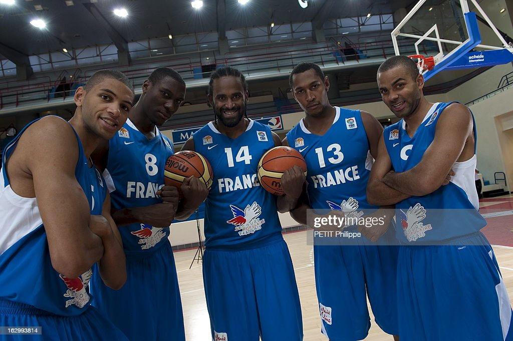 France Basketball Team Training At Stade Pierre De Coubertin In