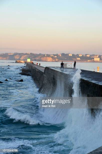 France, Basque country, Pyrenees Atlantiques department, city of Ciboure, storm on Socoa dike at the entrance to the bay of Saint-Jean-de-Luz.