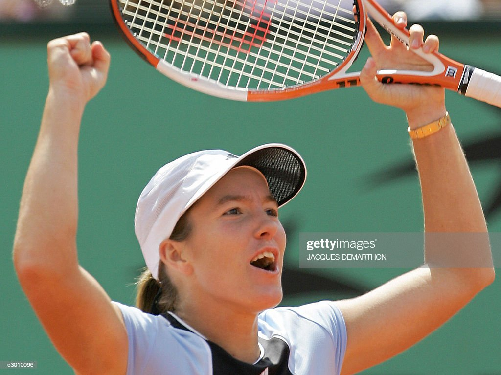 Belgium Justine Henin-Hardenne celebrates her victory against Russian Nadia Petrova after their semi final match of the tennis French Open at Roland Garros, 02 June 2005 in Paris. Henin-Hardenne won 6-2, 6-3.
