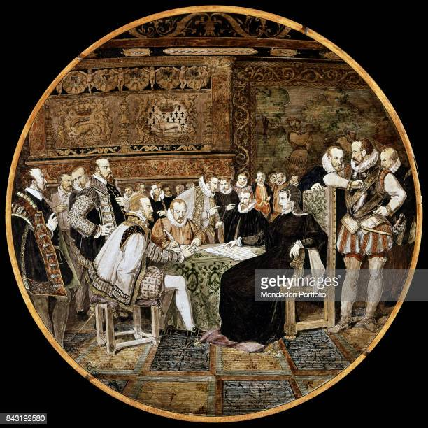 France, Blois, Blois Castle. Whole artwork view. The Queen and Henry II D'Orleans' wife Catherine de' Medici with her retinue.